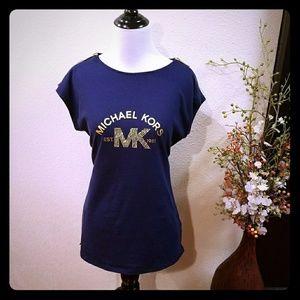 Michael Kors Prussian Blue w/ Gold MK logo  Large